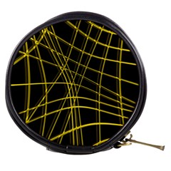 Yellow Abstract Warped Lines Mini Makeup Bags by Valentinaart