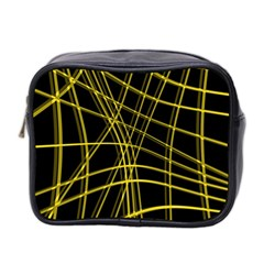 Yellow Abstract Warped Lines Mini Toiletries Bag 2 Side by Valentinaart