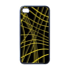 Yellow Abstract Warped Lines Apple Iphone 4 Case (black) by Valentinaart