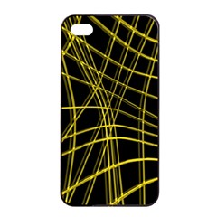 Yellow Abstract Warped Lines Apple Iphone 4/4s Seamless Case (black) by Valentinaart