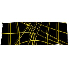 Yellow Abstract Warped Lines Body Pillow Case (dakimakura) by Valentinaart