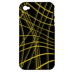 Yellow Abstract Warped Lines Apple Iphone 4/4s Hardshell Case (pc+silicone) by Valentinaart