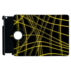 Yellow Abstract Warped Lines Apple Ipad 3/4 Flip 360 Case by Valentinaart