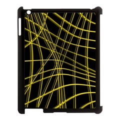 Yellow Abstract Warped Lines Apple Ipad 3/4 Case (black) by Valentinaart