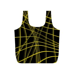 Yellow Abstract Warped Lines Full Print Recycle Bags (s)  by Valentinaart