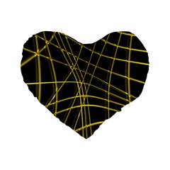 Yellow abstract warped lines Standard 16  Premium Flano Heart Shape Cushions by Valentinaart