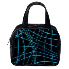 Cyan And Black Warped Lines Classic Handbags (one Side) by Valentinaart