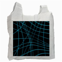 Cyan And Black Warped Lines Recycle Bag (two Side)  by Valentinaart
