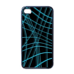 Cyan And Black Warped Lines Apple Iphone 4 Case (black) by Valentinaart