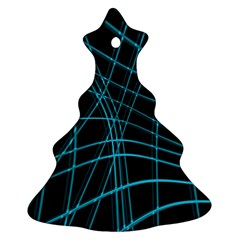 Cyan And Black Warped Lines Christmas Tree Ornament (2 Sides) by Valentinaart