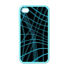 Cyan And Black Warped Lines Apple Iphone 4 Case (color) by Valentinaart