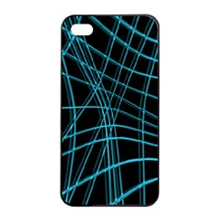 Cyan And Black Warped Lines Apple Iphone 4/4s Seamless Case (black) by Valentinaart