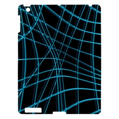 Cyan And Black Warped Lines Apple Ipad 3/4 Hardshell Case by Valentinaart
