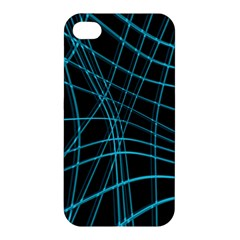 Cyan And Black Warped Lines Apple Iphone 4/4s Premium Hardshell Case by Valentinaart