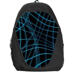 Cyan And Black Warped Lines Backpack Bag by Valentinaart
