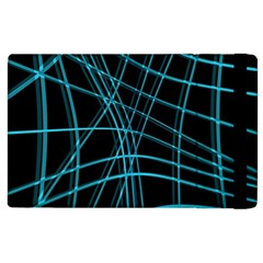 Cyan And Black Warped Lines Apple Ipad 3/4 Flip Case by Valentinaart