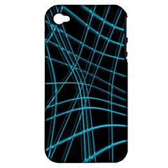 Cyan And Black Warped Lines Apple Iphone 4/4s Hardshell Case (pc+silicone) by Valentinaart