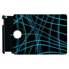 Cyan And Black Warped Lines Apple Ipad 3/4 Flip 360 Case by Valentinaart