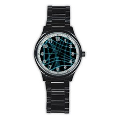 Cyan And Black Warped Lines Stainless Steel Round Watch by Valentinaart