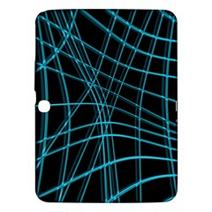 Cyan And Black Warped Lines Samsung Galaxy Tab 3 (10 1 ) P5200 Hardshell Case  by Valentinaart