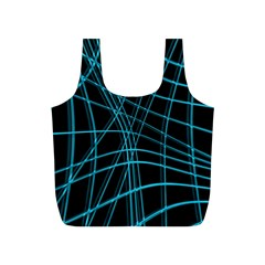 Cyan And Black Warped Lines Full Print Recycle Bags (s)  by Valentinaart