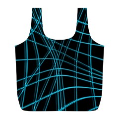 Cyan And Black Warped Lines Full Print Recycle Bags (l)  by Valentinaart