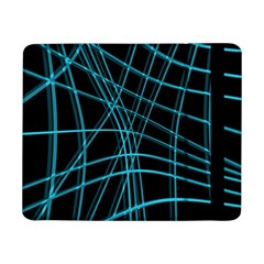 Cyan And Black Warped Lines Samsung Galaxy Tab Pro 8 4  Flip Case by Valentinaart