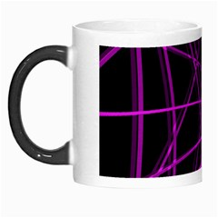 Purple And Black Warped Lines Morph Mugs by Valentinaart