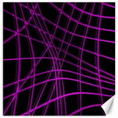 Purple And Black Warped Lines Canvas 20  X 20   by Valentinaart