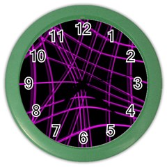 Purple And Black Warped Lines Color Wall Clocks by Valentinaart