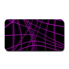 Purple And Black Warped Lines Medium Bar Mats by Valentinaart