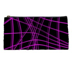 Purple And Black Warped Lines Pencil Cases by Valentinaart
