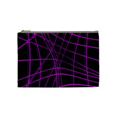 Purple And Black Warped Lines Cosmetic Bag (medium)  by Valentinaart