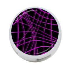 Purple And Black Warped Lines 4 Port Usb Hub (two Sides)  by Valentinaart