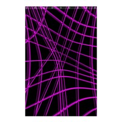 Purple And Black Warped Lines Shower Curtain 48  X 72  (small)  by Valentinaart