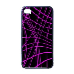 Purple And Black Warped Lines Apple Iphone 4 Case (black) by Valentinaart