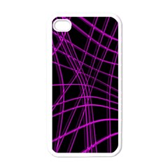 Purple And Black Warped Lines Apple Iphone 4 Case (white) by Valentinaart
