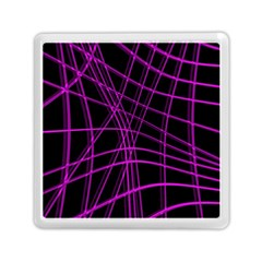 Purple And Black Warped Lines Memory Card Reader (square)  by Valentinaart