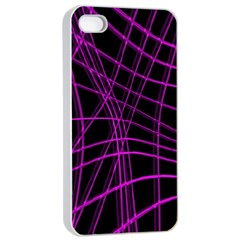 Purple And Black Warped Lines Apple Iphone 4/4s Seamless Case (white) by Valentinaart