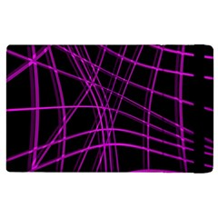 Purple And Black Warped Lines Apple Ipad 3/4 Flip Case by Valentinaart
