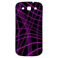 Purple And Black Warped Lines Samsung Galaxy S3 S Iii Classic Hardshell Back Case by Valentinaart