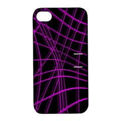 Purple And Black Warped Lines Apple Iphone 4/4s Hardshell Case With Stand by Valentinaart