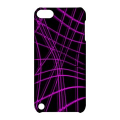 Purple And Black Warped Lines Apple Ipod Touch 5 Hardshell Case With Stand by Valentinaart