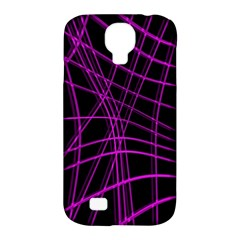 Purple And Black Warped Lines Samsung Galaxy S4 Classic Hardshell Case (pc+silicone) by Valentinaart