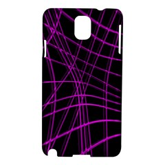 Purple And Black Warped Lines Samsung Galaxy Note 3 N9005 Hardshell Case by Valentinaart