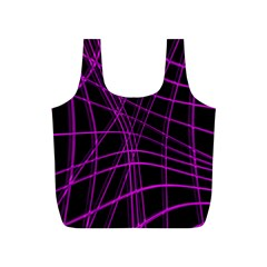 Purple And Black Warped Lines Full Print Recycle Bags (s)  by Valentinaart
