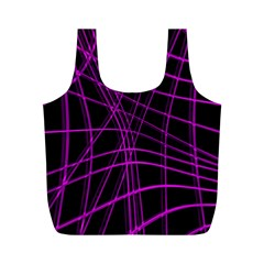 Purple And Black Warped Lines Full Print Recycle Bags (m)  by Valentinaart