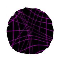 Purple And Black Warped Lines Standard 15  Premium Flano Round Cushions by Valentinaart