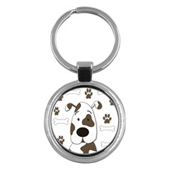 Cute Dog Key Chains (round)  by Valentinaart