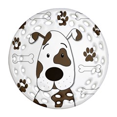 Cute Dog Round Filigree Ornament (2side) by Valentinaart